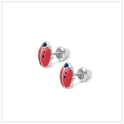 Red ladybug screw back earrings for babies and children. Our ladybug earrings are sterling silver.