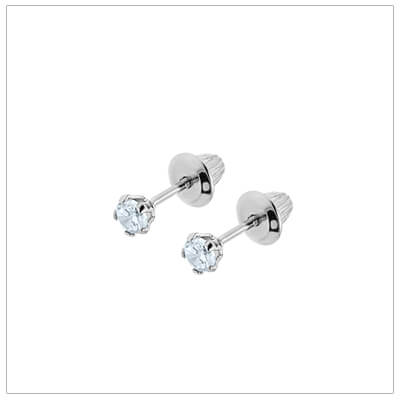 Sterling silver birthstone earrings for babies and children with screw backs. These screw back birthstone earrings for April have synthetic birthstones.