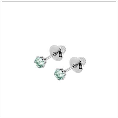 Sterling silver birthstone earrings for babies and children with screw backs. These screw back birthstone earrings for December have synthetic birthstones.