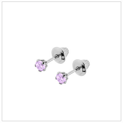 Sterling silver birthstone earrings for babies and children with screw backs. These screw back birthstone earrings for June have synthetic birthstones.