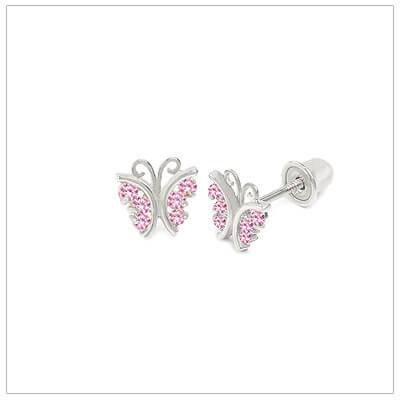 14kt white gold butterfly earrings for babies and children set with pink cubic zirconia. Screw back earrings for kids.