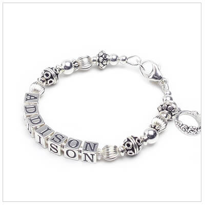 All sterling silver name bracelet with a touch of Bali silver for babies, toddlers, and children.