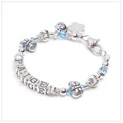 Baby and childrens name bracelet with two butterfly beads and birthstone crystals.