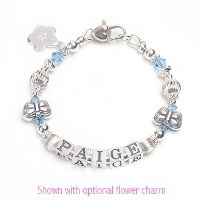 Precious name bracelet for children with two butterfly beads and crystal birthstones.