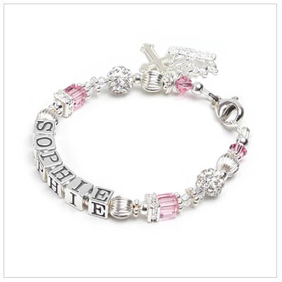Baby and childrens name bracelet with Swarovski birthstone cubes and sparkling cz rondelles and beads.