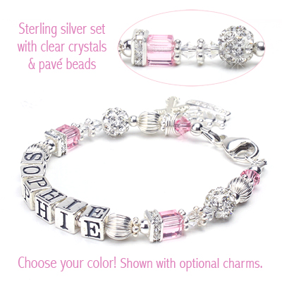 The Princess baby and child name bracelet with birthstone cube crystals and sparkling crystal beads.