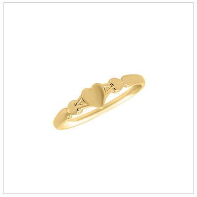Baby heart rings in 10kt yellow gold, three small hearts are on the front of the band.