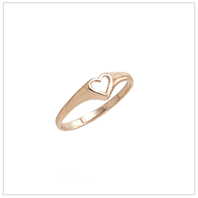 Baby rings in 10kt yellow gold with a dainty cut out heart, baby gifts.