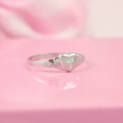 White gold baby heart ring with engraved Cross; Baptism gift.