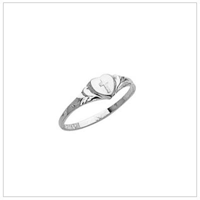 14kt White Gold Engraved Cross Ring - 1464