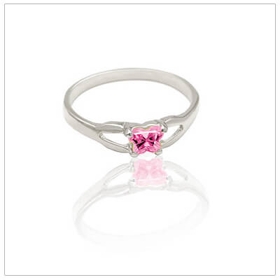 Sterling silver birthstone baby rings with butterfly-shaped cz birthstones. Quality made baby rings.