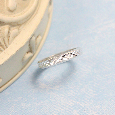 engraveable sterling diamond cut baby band ring