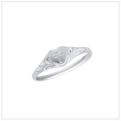 Sterling silver heart shaped baby ring with engraved Cross; baptism and christening gift.