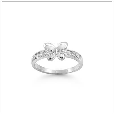 Adorable sterling silver butterfly ring for toddlers and children with clear cubic zirconia on the band.