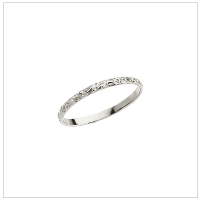 14kt white gold band ring for babies and children with an etched design.