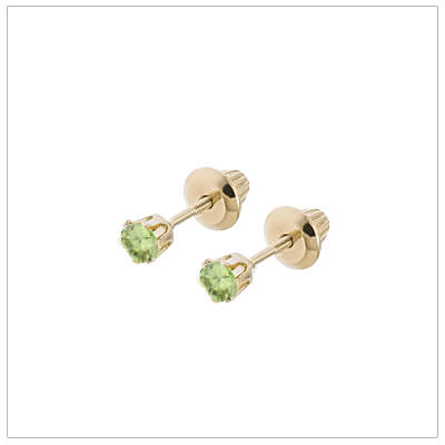 14kt screw back earrings for babies and children, birthstone earrings for August.