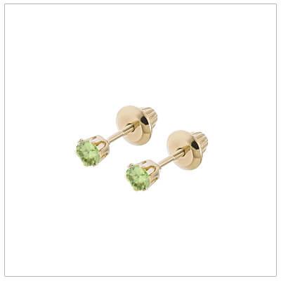 14kt screw back earrings for babies and children, birthstone earrings for August.