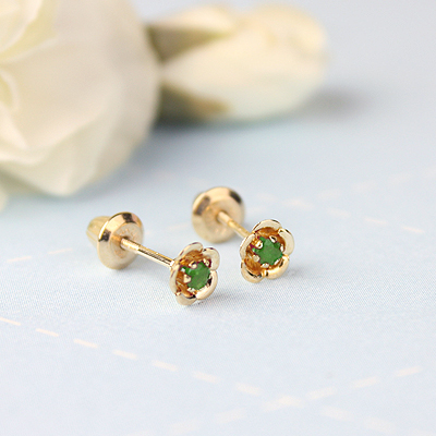 14kt gold May birthstone earrings with a flower shape. Beautiful birthstone earrings for babies and children.