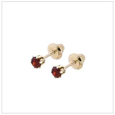 14kt screw back birthstone earrings for January.