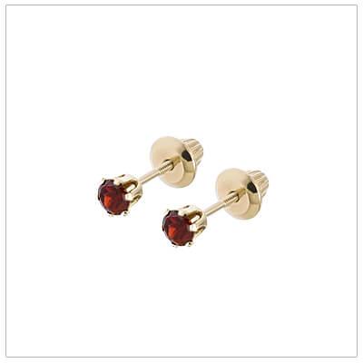 14kt screw back birthstone earrings for January.