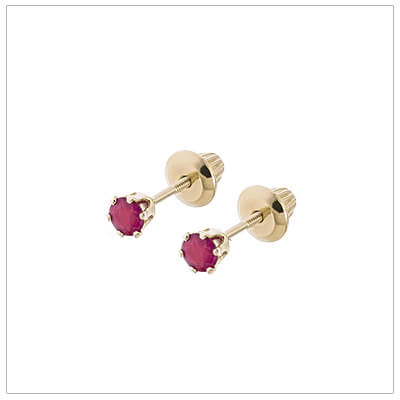 14kt screw back earrings for babies and children, birthstone earrings for July.