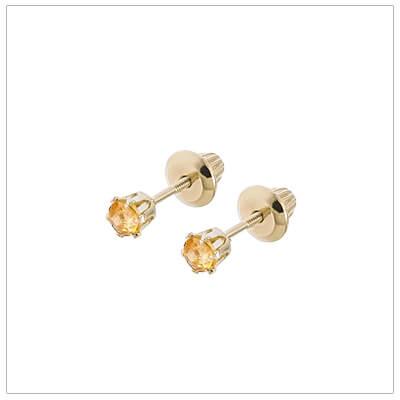 14kt screw back earrings for babies and children, birthstone earrings for November.