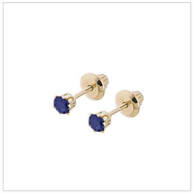 14kt screw back earrings for babies and children, birthstone earrings for September.