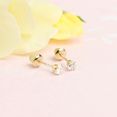 14kt yellow gold birthstone earrings for April with screw backs.