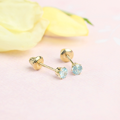 14kt yellow gold birthstone earrings for December with screw backs.