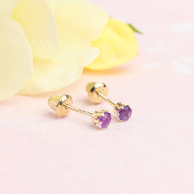 14kt yellow gold birthstone earrings for February with screw backs.