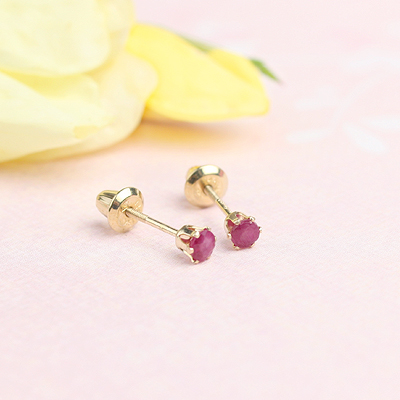 14kt yellow gold birthstone earrings for July with screw backs.