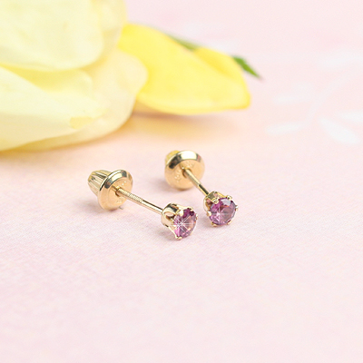14kt yellow gold birthstone earrings for June with screw backs.