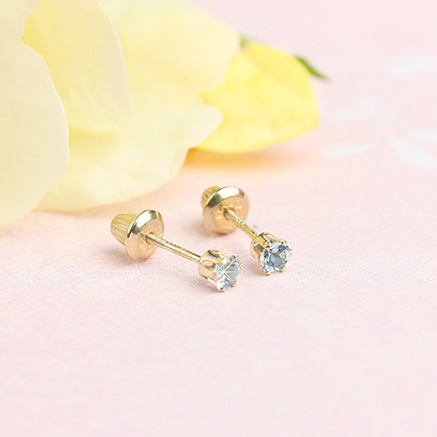14kt yellow gold birthstone earrings for March with screw backs.