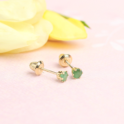 14kt yellow gold birthstone earrings for May with screw backs.