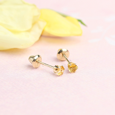14kt yellow gold birthstone earrings for November with screw backs.