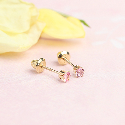 14kt yellow gold birthstone earrings for October with screw backs.