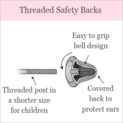 Diagram of screw back earrings for babies and children.