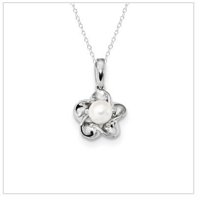 Sterling silver flower shaped June birthstone necklace for girls and teens.