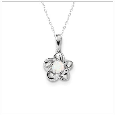 Sterling silver October birthstone necklace with a flower shape for girls.