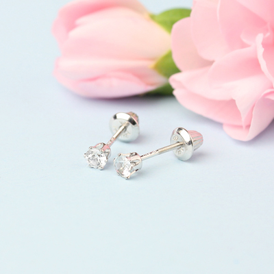 14kt white gold birthstone earrings for April with screw backs.
