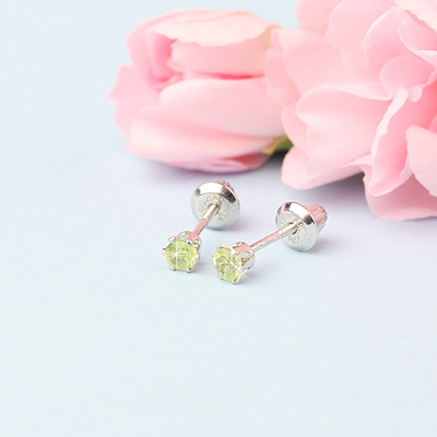 14kt white gold birthstone earrings for August with screw backs.