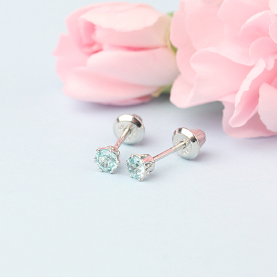 14kt white gold birthstone earrings for December with screw backs.