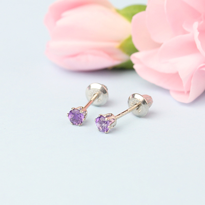 14kt white gold birthstone earrings for February with screw backs.