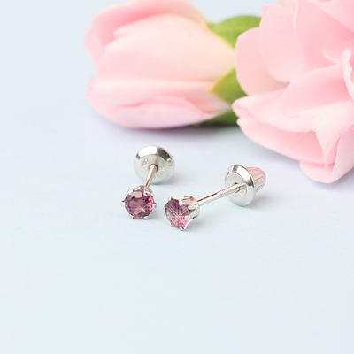 14kt white gold birthstone earrings for June with screw backs.