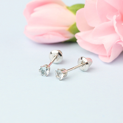 14kt white gold birthstone earrings for March with screw backs.