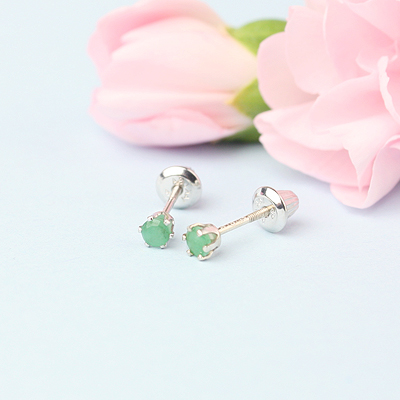 14kt white gold birthstone earrings for May with screw backs.