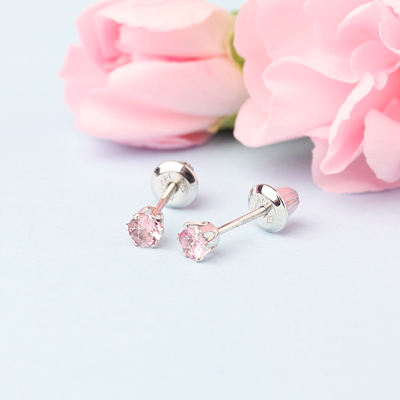 14kt white gold birthstone earrings for October with screw backs.