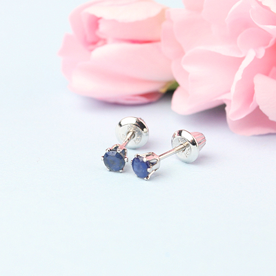 14kt white gold birthstone earrings for September with screw backs.