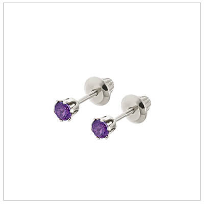 14kt white gold February birthstone earrings for babies and children. These are screw back earrings for children.