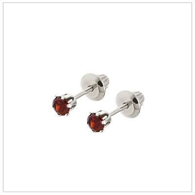 14kt white gold January birthstone earrings for babies and children. These are screw back earrings for children.